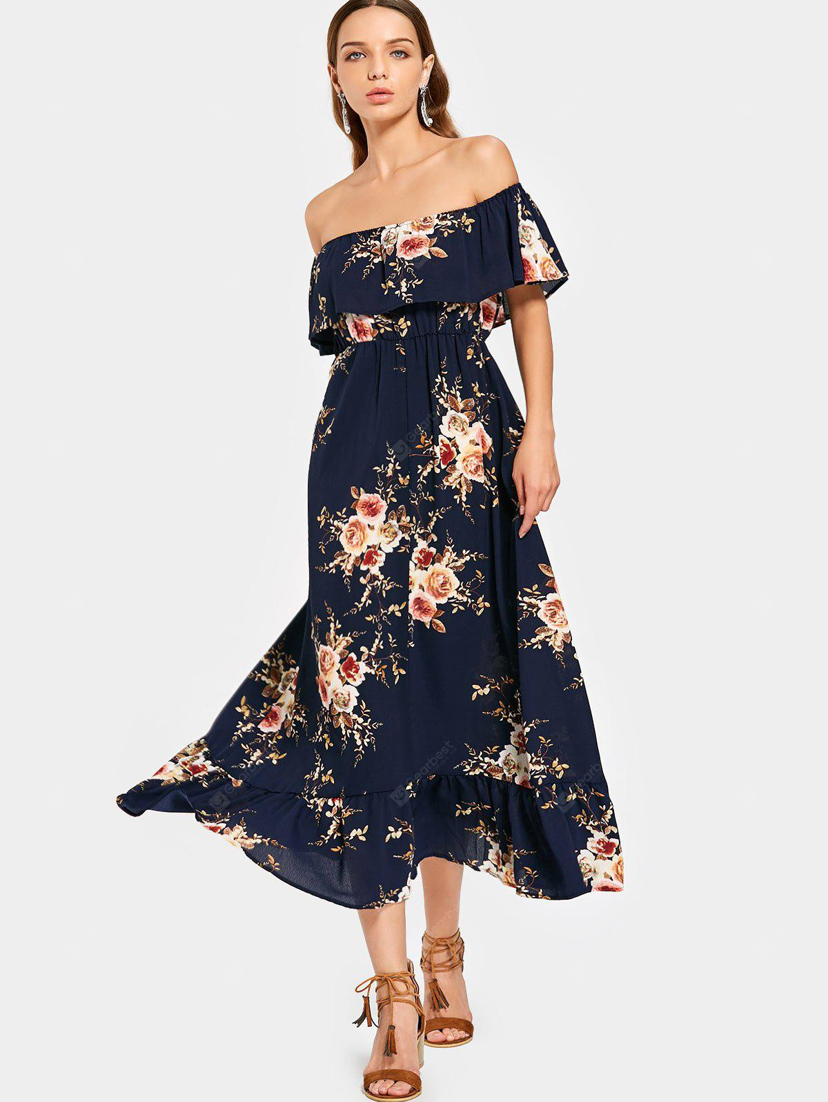 Off Shoulder Overlap Floral Midi Dress