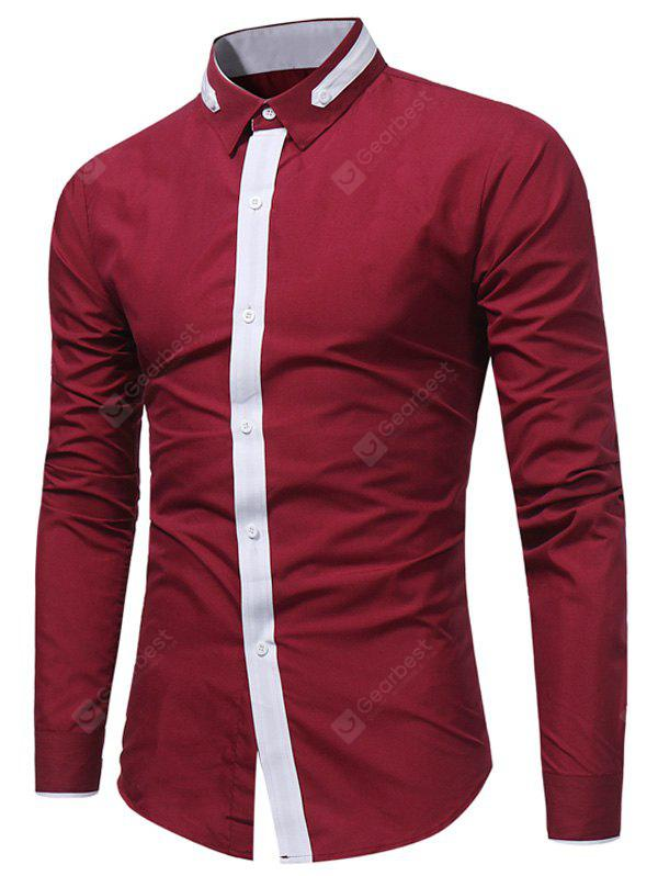 WINE RED Turndown Collar Color Block Selvedge Embellished Shirt