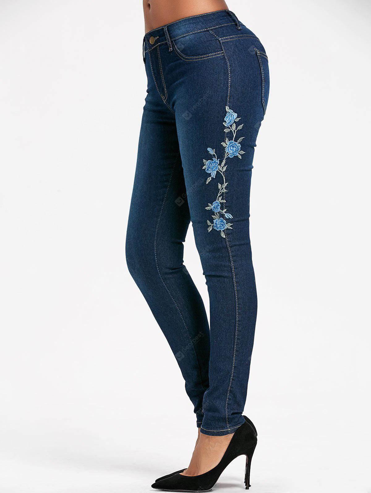 BLUE L High Waisted Floral Embroidered Skinny Jeans