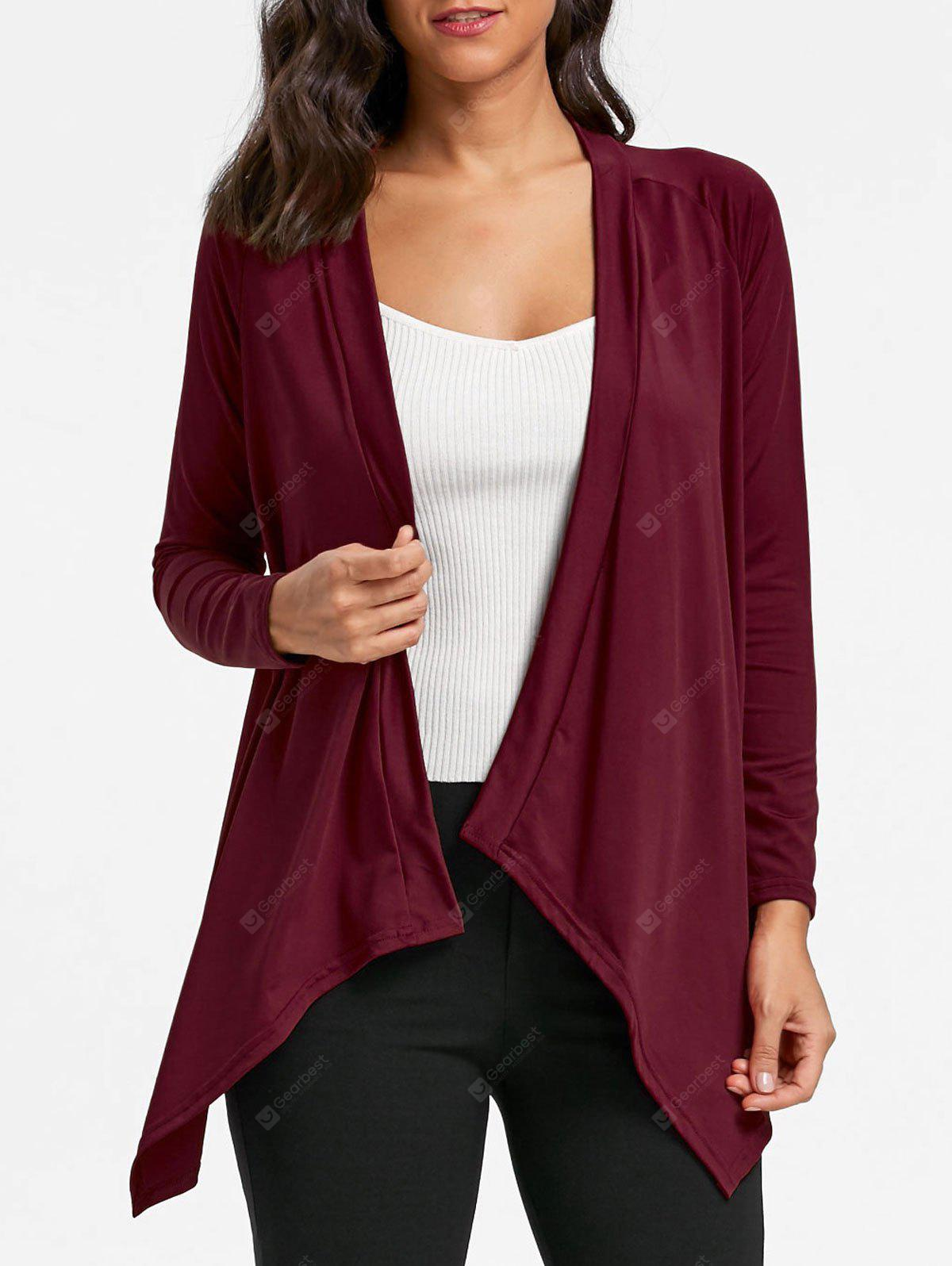Asymmetrical Draped Open Front Cardigan