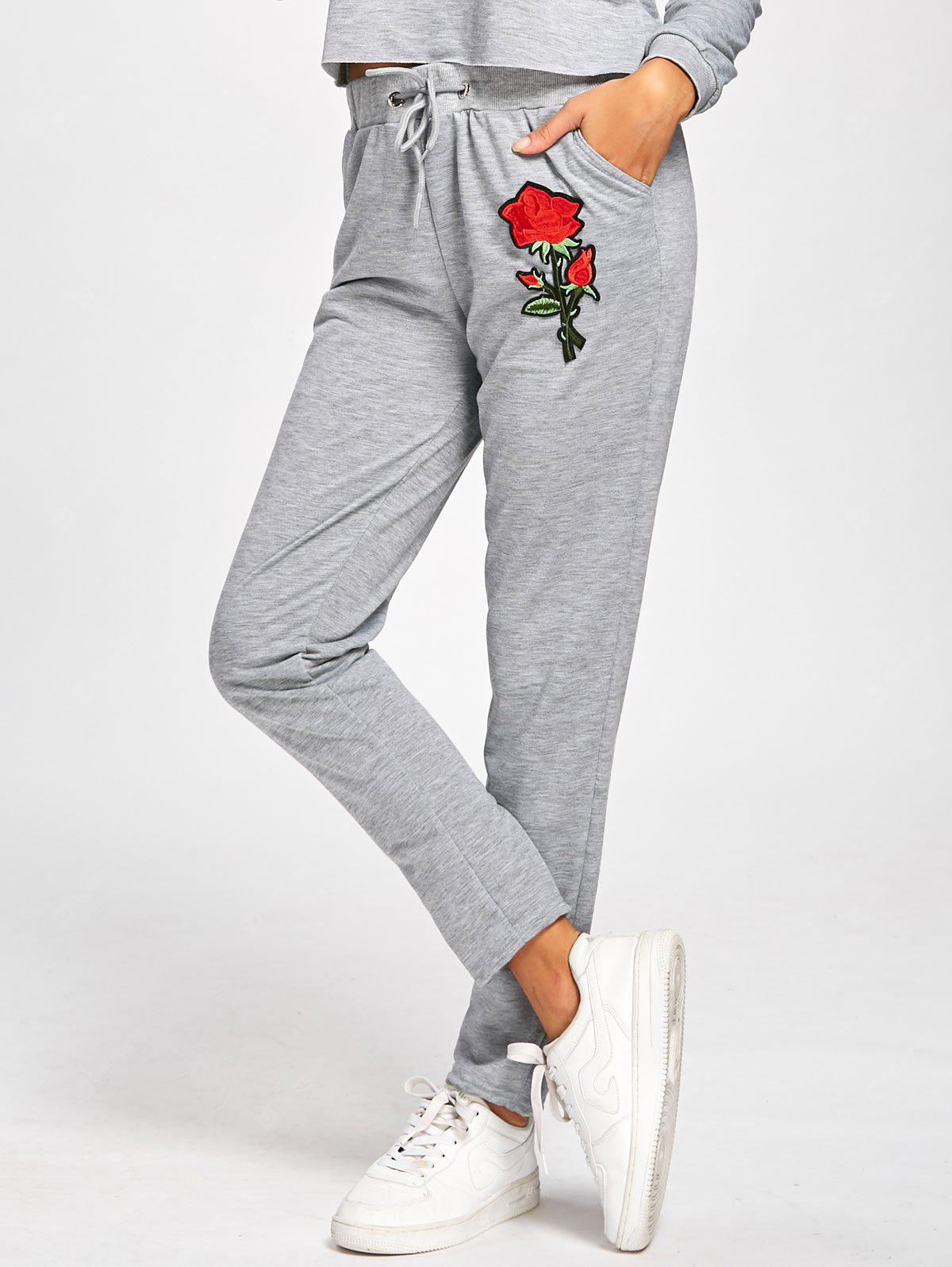High Waisted Floral Embroidered Sweatpants