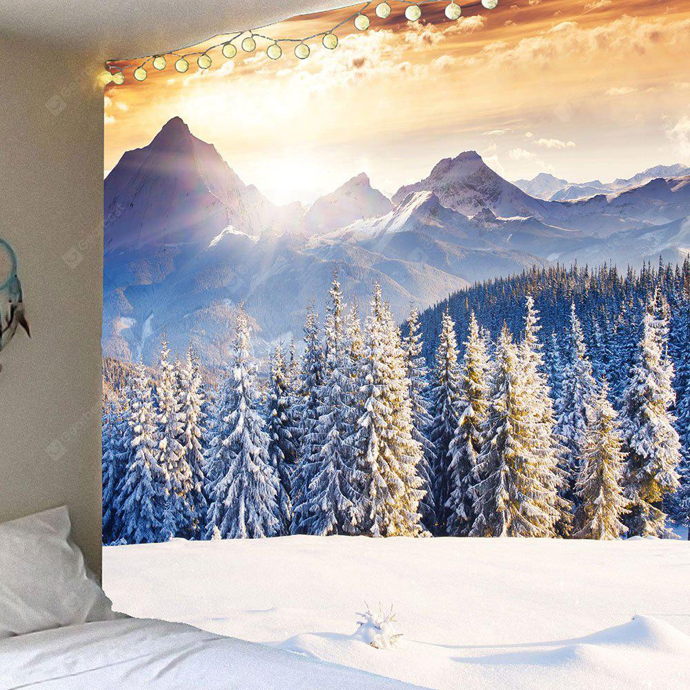 LIGHT GOLD Snow Mountains Forest Hanging Wall Art Tapestry