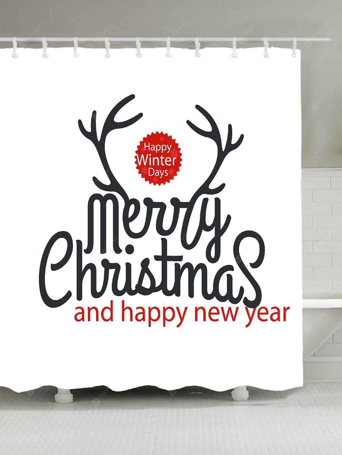 Christmas Letter Print Waterproof Shower Curtain