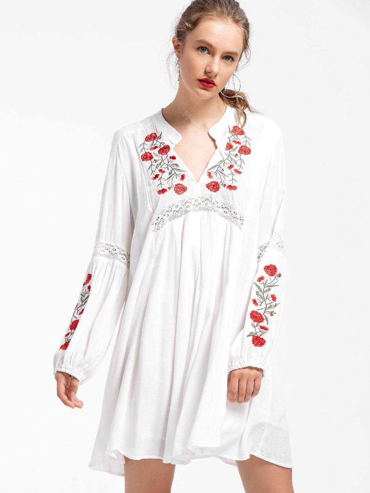 Floral Embroidered Puff Sleeve Shift Dress