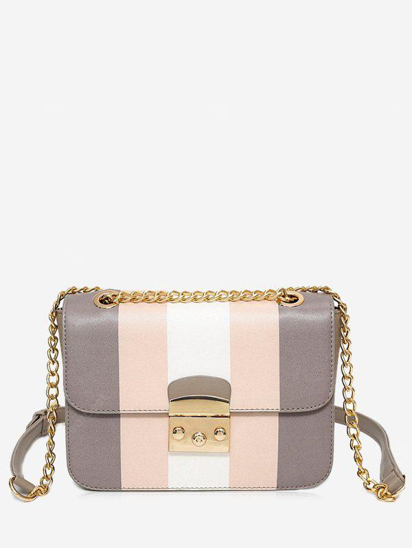 GRAY Color Block Chain Faux Leather Crossbody Bag