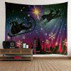 Starry Night Christmas Reindeer Cart Patterned Tapestry - COLORFUL