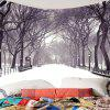 Snow Covering Road Trees Wall Art Tapestry - GRAY