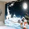Moonlit Night Christmas Snowman Pattern Wall Hanging Tapestry - COLORMIX