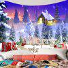 Merry Christmas Snowy Town Wall Art Hanging Tapestry - COLORFUL