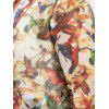 Plus Size Sheer Mesh Bird Print Jacket - COLORMIX