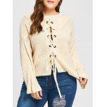 Plus Size Lace Up gota hombro Chunky suéter - BLANCUZCO