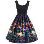 Flamingo Print Sleeveless Vintage Dress - BLACK