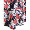 Halloween Floral Skull Print Vintage Dress - COLORMIX