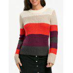 Color Blocking Crew Neck Sweater - COLORMIX