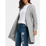Long Cable Kint Sweater Cardigan - GRAY
