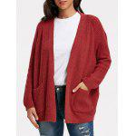 Pockets Sweater Cardigan - WINE RED