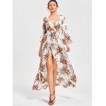 Blumendruck High Split Flare Ärmel Surplice Kleid - BLUMEN