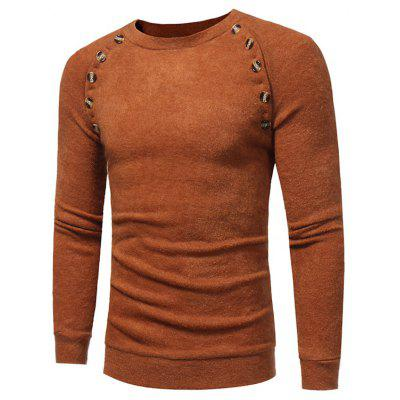 Buy CAMEL Crew Neck Buttons Embellished Raglan Sleeve Sweater for $22.04 in GearBest store