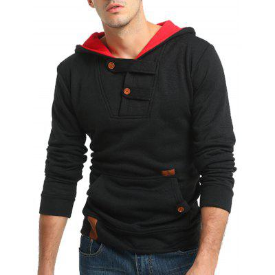 Buy BLACK Buttons Color Block Hooded Fleece Pullover Hoodie for $25.15 in GearBest store