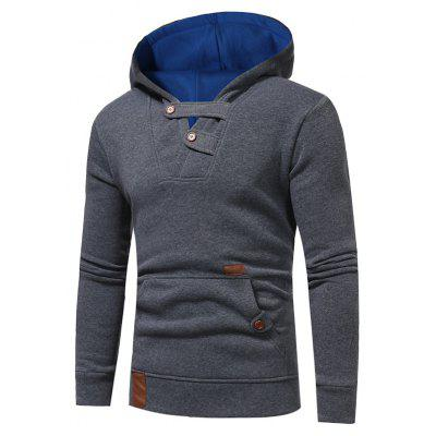 Buy DEEP GRAY Buttons Color Block Hooded Fleece Pullover Hoodie for $25.15 in GearBest store