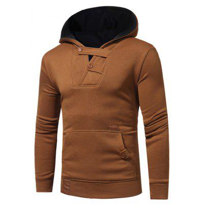 Buy CAMEL Buttons Color Block Hooded Fleece Pullover Hoodie for $25.15 in GearBest store