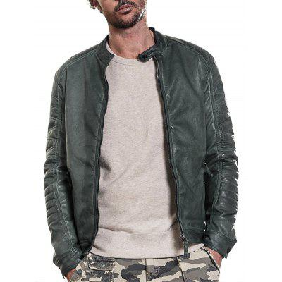 Buy GREEN Mandarin Collar Raglan Sleeve Faux Leather Jacket for $86.93 in GearBest store