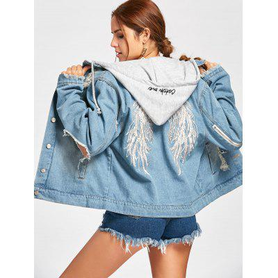 Hooded Wing Embroidery Distressed Denim Jacket