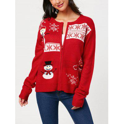 Zip Up Snowman Snowflake Pattern Knitwear