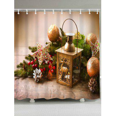 Christmas Ball Candle Waterproof Bath Curtain