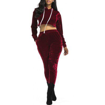 Buy WINE RED M Velvet Cropped Hoodie and Pants Suit for $32.15 in GearBest store