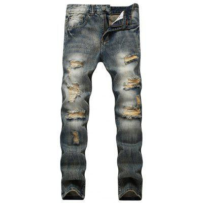 Buy BLUE Faded Wash Slim Fit Distressed Jeans for $35.24 in GearBest store