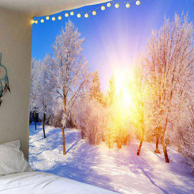 Sunlight Snowy Forest Wall Art Hanging Tapestry