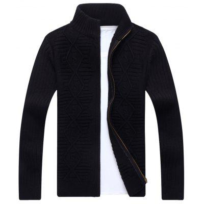Buy BLACK Stand Collar Cable Knit Cardigan for $46.33 in GearBest store
