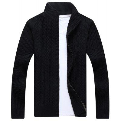 Buy BLACK Zip Stand Collar Cable Knit Cardigan for $41.86 in GearBest store