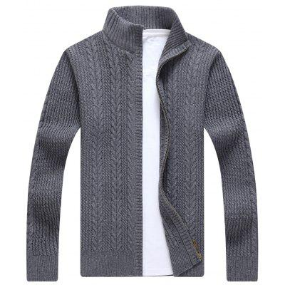 Buy GRAY Zip Stand Collar Cable Knit Cardigan for $41.86 in GearBest store