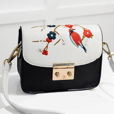 Buy WHITE Embroidery Flower Bird Crossbody Bag for $20.53 in GearBest store