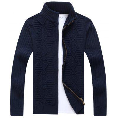 Stand Collar Cable Knit Cardigan