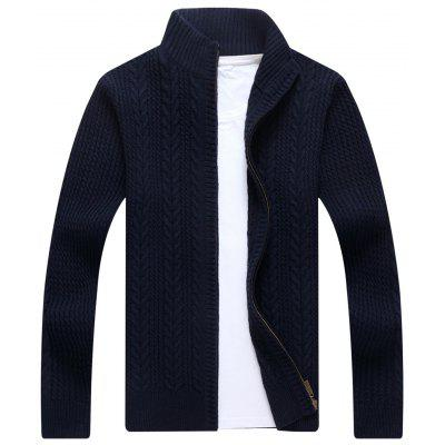 Buy BLUE Zip Stand Collar Cable Knit Cardigan for $41.86 in GearBest store