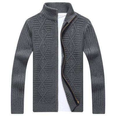 Buy GRAY Stand Collar Cable Knit Cardigan for $46.33 in GearBest store