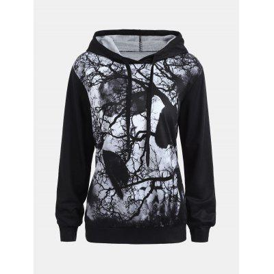 Halloween Hoodie with Dark Forest Skull Print