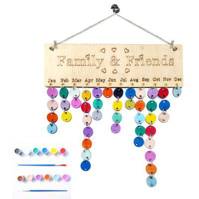 Buy ROUND DIY Colorful Wooden Family And Friends Birthday Calendar Board for $13.61 in GearBest store