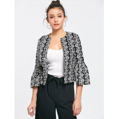 Embroidered Flare Sleeve Open Front Blazer