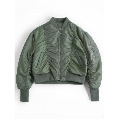 Zip Up Ruched Loose Bomber Jacket