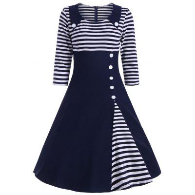 Buy DEEP BLUE 2XL Striped Button Embellished Vintage A Line Dress for $26.84 in GearBest store