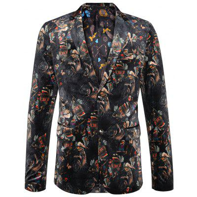 Buy COLORMIX Single Breasted Printed Velour Blazer for $119.06 in GearBest store