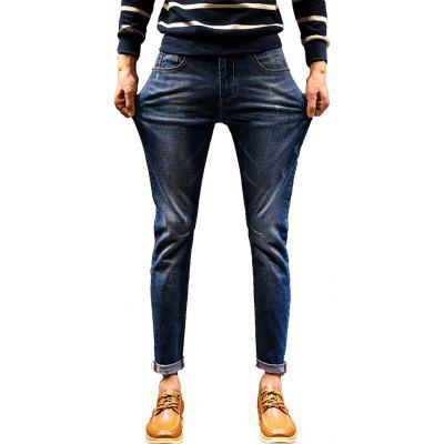Stretch Zip Fly Cuffed Jeans