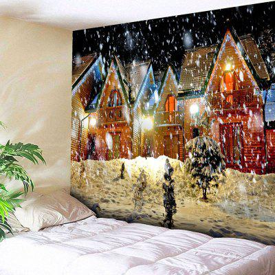 Christmas Snowy Evening Pattern Waterproof Wall Hanging Tapestry