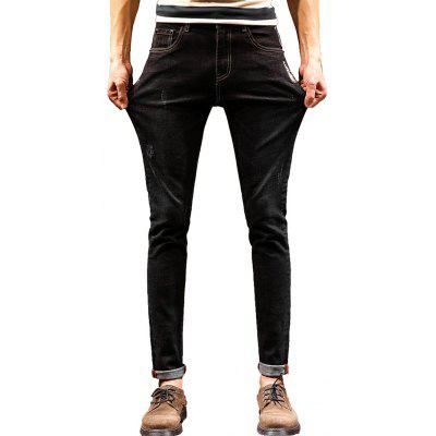 Graphic Print Zip Fly Cuffed Jeans