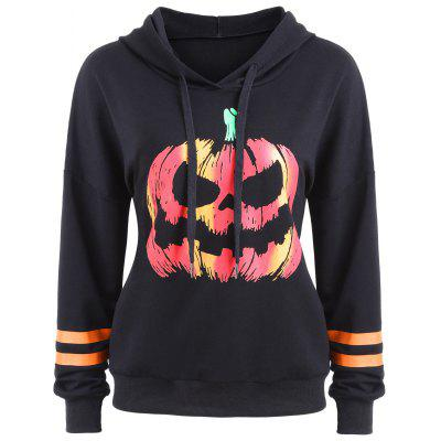 Drawstring Halloween Pumpkin Face Striped Hoodie