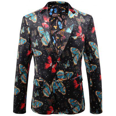 Lapel Butterfly Casual Velour Blazer